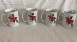 Block Spal Poinsettia Watercolors Porcelain Cups Mugs Set of 4 Portugal ... - $29.69