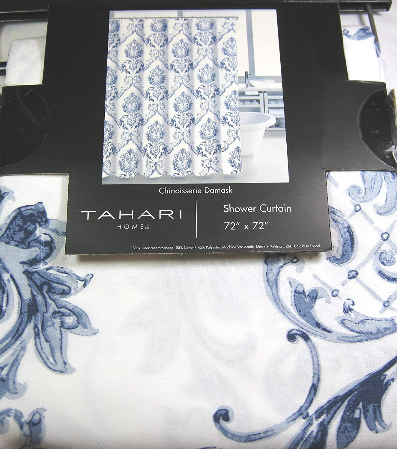 Tahari Chinoisserie Damask Blue White Shower Curtain