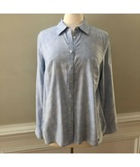 Talbots Womens Blue Polka Dot Button Up 100% Cotton Blouse Shirt Size L - $24.72