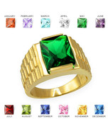 10K Yellow Gold Mens Square CZ Birthstone Watchband Ring - $389.99