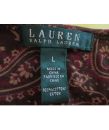 Womens Crew Neck Shirt by Ralph Lauren Size L Brown Pasely TF482/CJC - $10.94