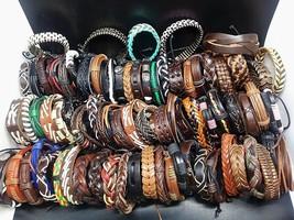 Wholesale mixed styles 100pcs cuff bracelets genuine leather black brown vintage - $85.80