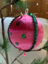"3.5"" Pink Silk Ball Christmas Ornaments Shabby Chic Holiday Decor W Sign... - $24.75"