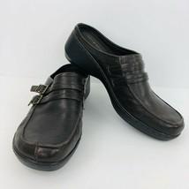 Easy Spirit Daytrip Brown Leather Size 8 Slip On Mule Clog Buckles Wedge Heel  - $39.59