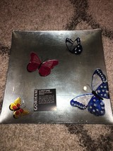 "Gorham Butterfly Menagerie Square Crystal Glass Tray 14"" - $44.99"