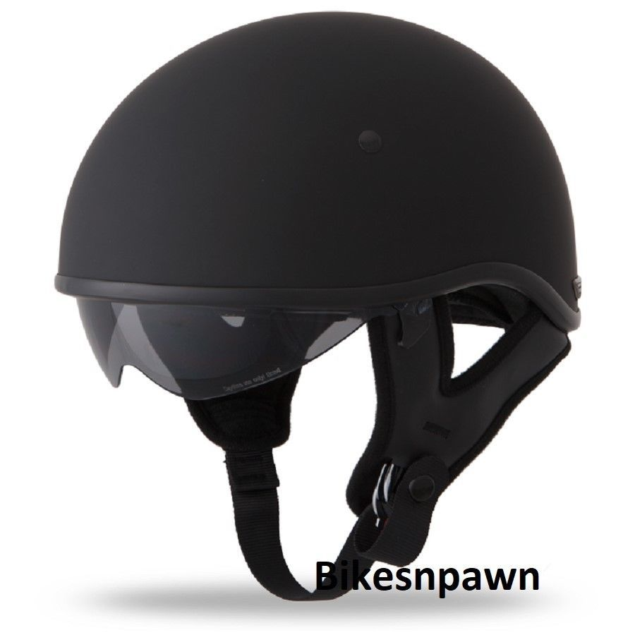 New XS Flat Black Fly Racing DOT Approved .357 Motorcycle Half Helmet