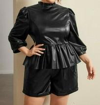 2Pcs Set Co-Ord Faux PU Leather Mock Neck Puff Sleeve Peplum Top and Sho... - $72.99