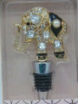 Elephant Wine Stopper Modern Expressions Black and Gold Rhinestones New - $10.50