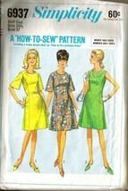Vintage 1966 Simplicity Pattern 6937 Misses' BONUS BASIC Dress, Sz 16-1/2 - $9.99