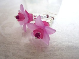 Handmade Pink & Purple Layered Fairy Flower Long Filigree Silver Tone Ea... - $7.13