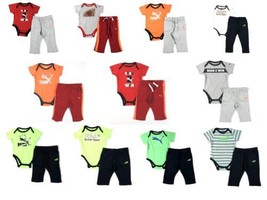 PUMA Infant Baby Boy's 2-Piece Pants Set with Short Sleeve Bodysuit NEW - $6.70