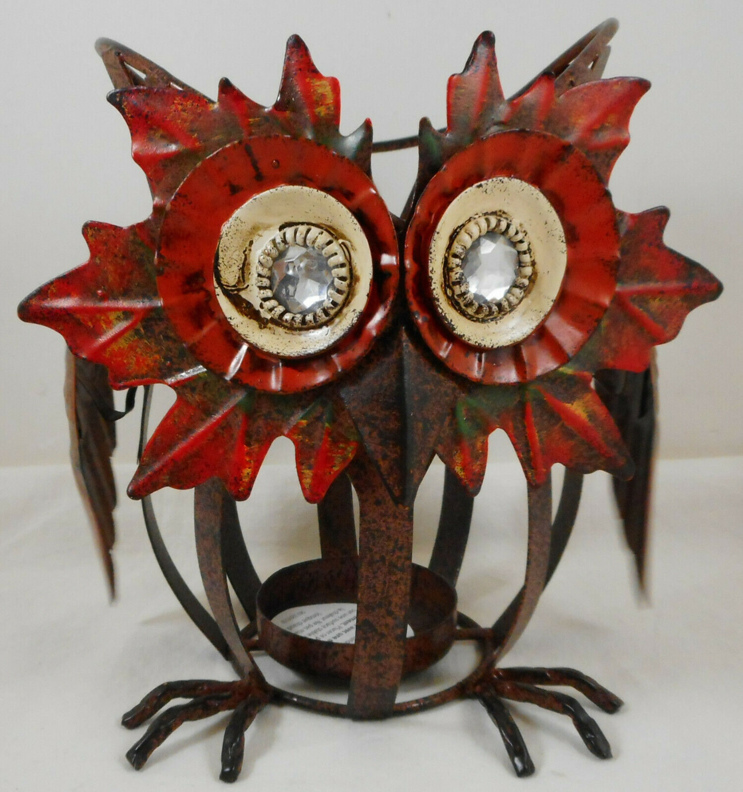 Primary image for Owl Tealight Candle Holder Fall Decor Metal 6""