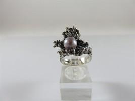 Vintage Designer Sterling Silver Pink Pearl Brutalist Ring Sz 6.75 & 7.7... - $50.00