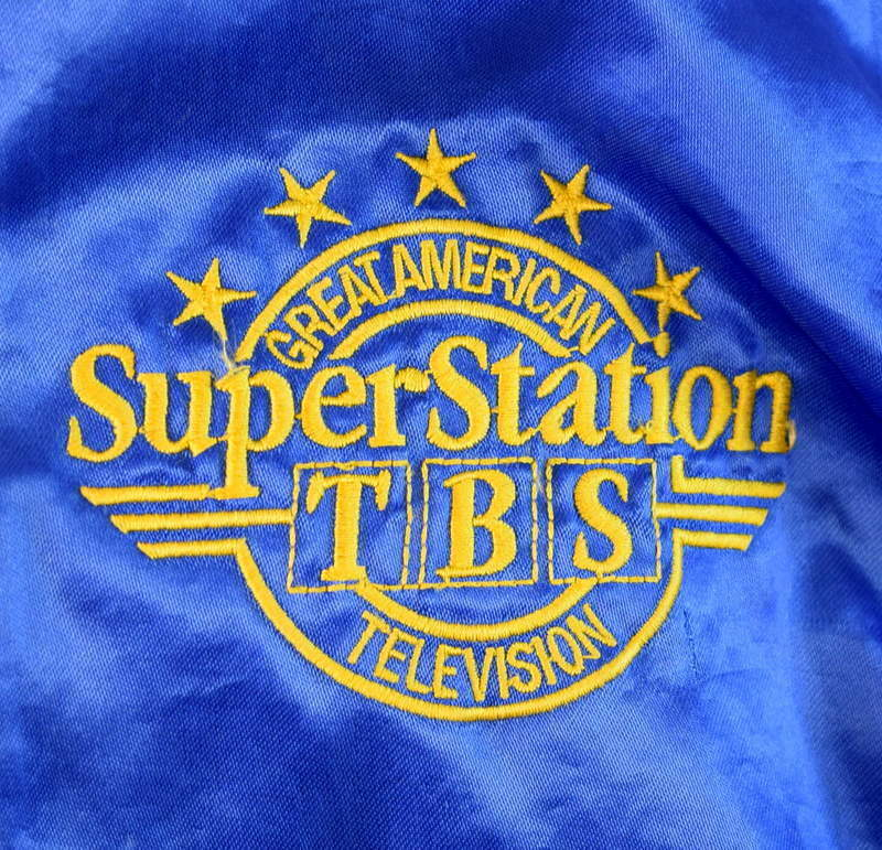 Vintage 80s Blue Satin Jacket TBS Super Station Windbreaker Retro Mens Size S image 7
