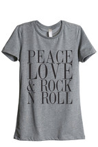 Thread Tank Peace Love And Rock n Roll Women's Relaxed T-Shirt Tee Heath... - $24.99+