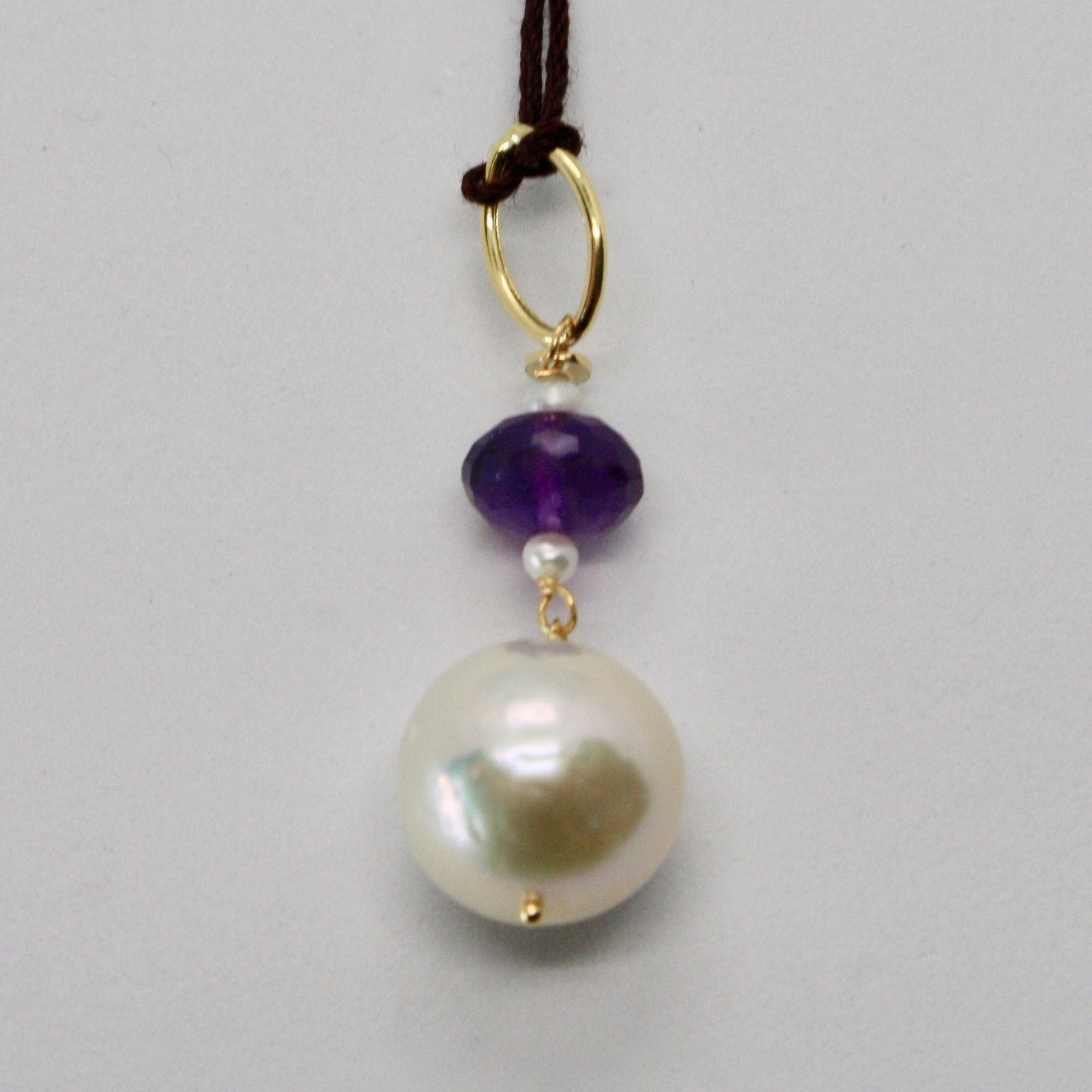 PENDANT YELLOW GOLD 18KT 750 WITH PEARL WHITE FRESH WATER AND AMETHYST PURPLE