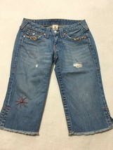 True Religion 28 Joey Bermuda Cropped Capri Blue Jeans Beaded Distressed... - $34.99
