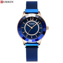CURREN New Rhinestone Fashion Quartz Mesh Steel Watch for Women Causal Blue Ladi - $29.63
