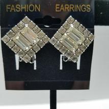 Silver Tone Clip On Rhinestone Vintage Earrings - $15.83