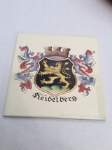 Vintage Trivet Ceramic Accent Wall Tile Heidelberg Germany Crest Shield ... - $10.45