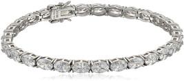 Platinum-Plated Sterling Silver Swarovski Zirconia Oval Tennis Bracelet,... - $271.58