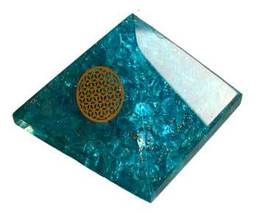 70mm Orgone Blue Topaz & Flower pyramid - $45.00
