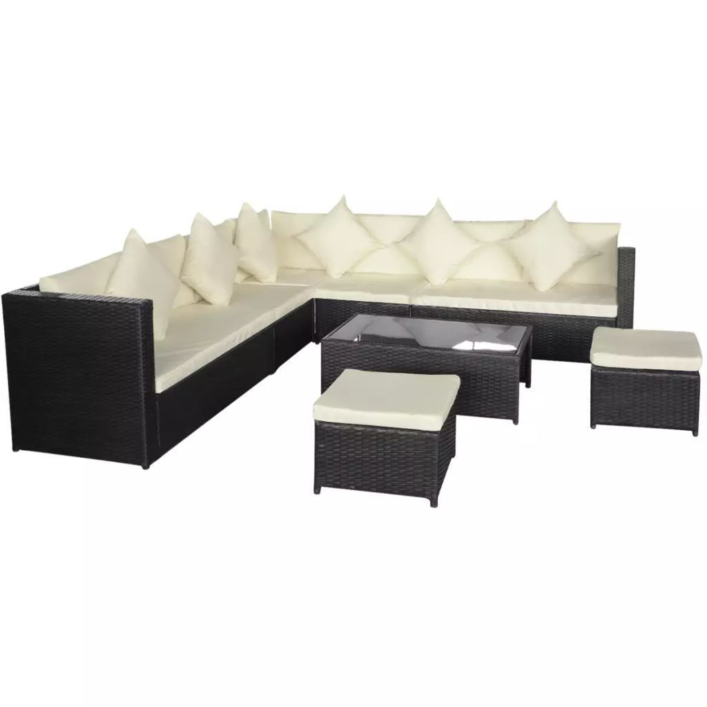 vidaXL Garden Sofa Set 29 piece Wicker Poly Rattan Black Outdoor Lounge Couch