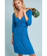 New Anthropologie Ruched V-Neck Turquoise Dress by Maeve $138 Size SMALL - $47.52