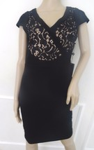 Nwt Adrianna Papell Sleveless Lace  Cocktail Sheath Dress Sz 8 Black Nude $180 - $74.20