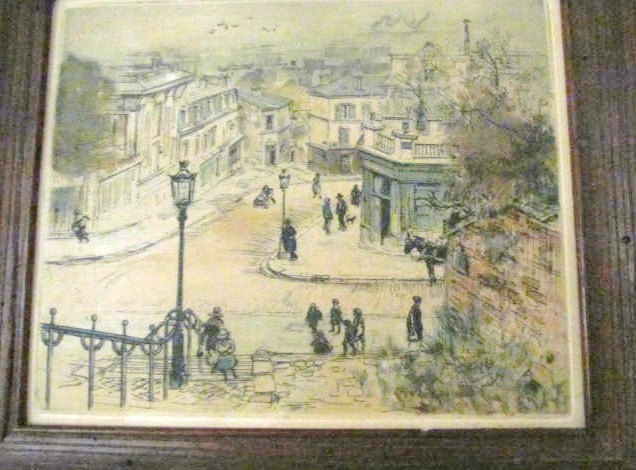 1920's Eugene Veder Hand Signed Antique Colored Etching Parisian Street Scene Pa