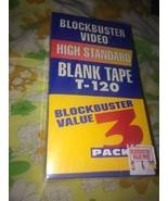 NEW Sealed Pack of 3 Blockbuster High Standard T-120 6 Hour Blank VHS Tapes - $12.78