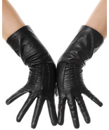 Black Mid Length Leather Gloves - $29.99