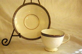 Wedgwood Palatia Cup And Saucer Set Greek Key - $8.09