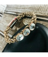 Braided Light Brown Leather Cord White Bead Magnet Copper Clasp Bracelet  - $29.69