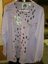 Storybook Sweater Cardigan Jungle Hideaway Size Large Light Purple Floral Design - $53.99