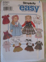 "Vintage American Girl 18"" Doll Simplicity Pattern # 9381, Design Your Own - $8.79"