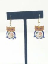 Vintage cloisonne owl pierced earring dangle floral bird - $24.75