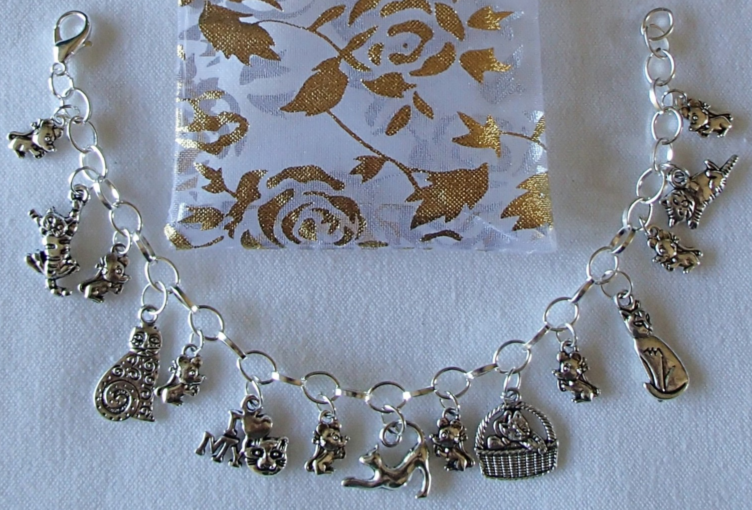 Primary image for Kittens Cats Mouse Mice Theme Charm Bracelet SP Handcrafted  + Organza Gift Bag