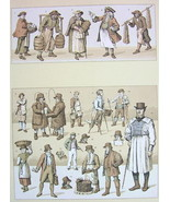 ENGLISH COSTUME Postman Fisherman Onion Seller - Tinted Antique Print A.... - $8.10