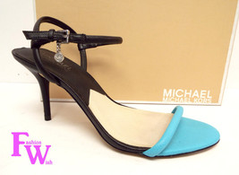 MICHAEL KORS Size 8 CARLENE Black Aquamarine Blue Sandals Heels Shoes - $35.20