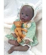 African American Black Ceramic Doll Child and Teddy bear - $89.99