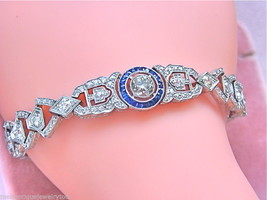 ANTIQUE ART DECO 3.7ctw DIAMOND SAPPHIRE HALO PLATINUM COCKTAIL BRACELET... - $10,885.05