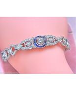 ANTIQUE ART DECO 3.7ctw DIAMOND SAPPHIRE HALO PLATINUM COCKTAIL BRACELET... - $10,885.05