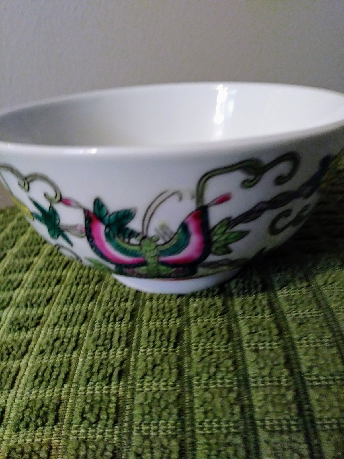 Vintage Chinese Porcelain Bowl, Hand Painted Butterflies, Flowers Gourds Asian B