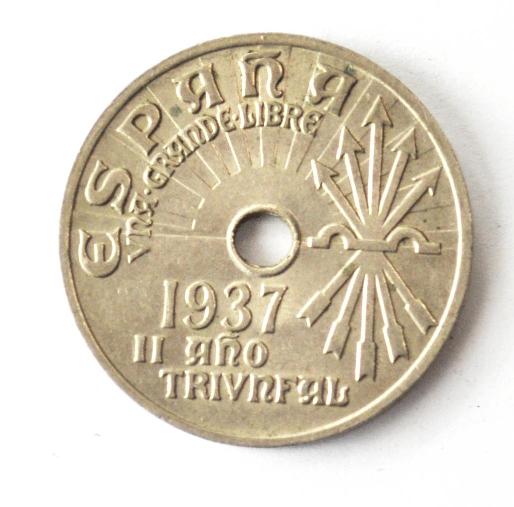 1937 Spain Twenty Five 25 Centimos KM# 753 Burgos Copper Nickel Coin