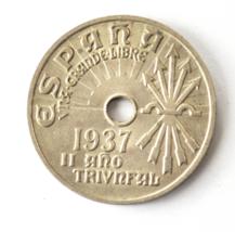 1937 Spain Twenty Five 25 Centimos KM# 753 Burgos Copper Nickel Coin  image 1