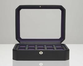 WOLF Windsor 10 Piece Watch Box with Cover (Black/Purple) 458403 Storage... - $115.00