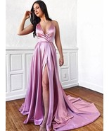 Halter Pink V-neck Long Train Prom Dress With Splits Prom Gowns Of Party... - $175.00