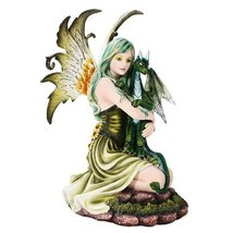 Green Tribal Fairy Dragon Statue Finish Made of Polyresin - $82.37