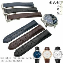 18 19 20 21 22mm Cowhide Bamboo Grain Watch Strap Folding Bukle For Omega Straps - $52.63